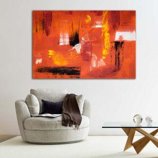 Πίνακας σε καμβά αφηρημένο κοραλί