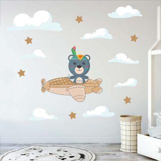 Αυτοκολλητα τοιχου με αρκουδάκι και συννεφάκια