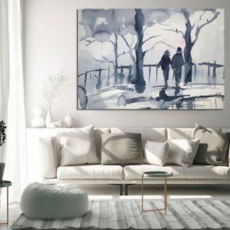 Πίνακας σε καμβά η ζευγάρι στη γέφυρα