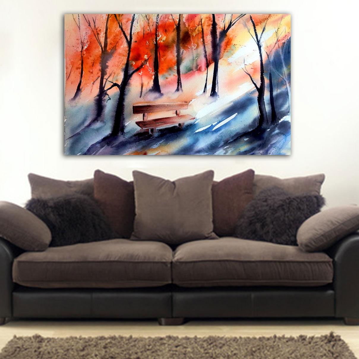 f0891ae3747 Πίνακας σε καμβά παγκάκι στο δάσος - Ninesix.gr