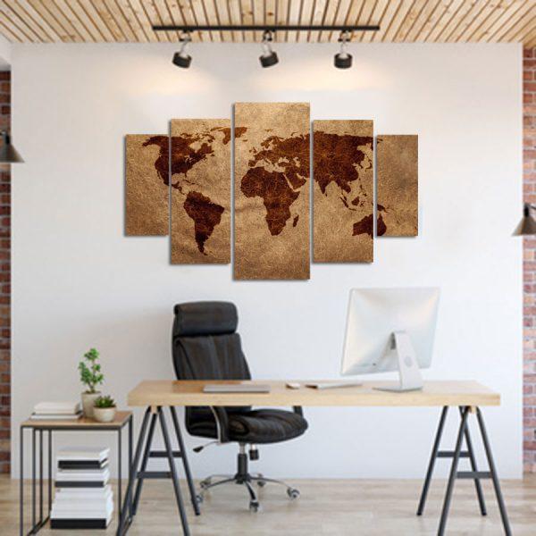 Πενταπτυχος πινακας σε καμβα παγκόσμιος χάρτης σε καφέ αποχρώσεις