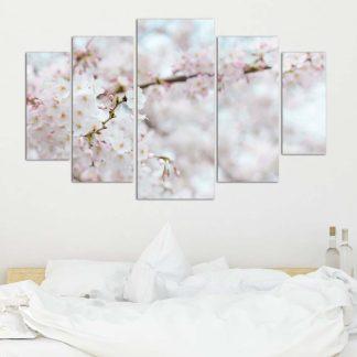 Πενταπτυχος πινακας σε καμβα pink white blossom 1.50X90