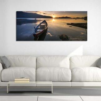Πινακας σε καμβα βάρκα σε ηλιοβασίλεμα