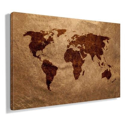 πινακας-σε-καμβα-παγκοσμιος-χαρτης-σε-καφε-αποχρωσεις