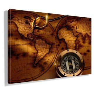 πινακας-σε-καμβα-παλιος-χαρτης-και-πυξιδα