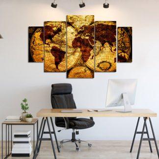 Πενταπτυχος πινακας σε καμβα παγκόσμιος χάρτης 1.50Χ90