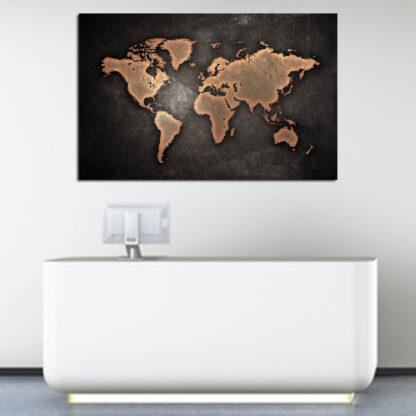 Πίνακας σε καμβά παγκοσμιος χάρτης σε γκρι φόντο