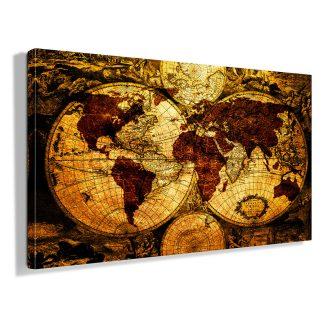 Πίνακας σε καμβά old World map