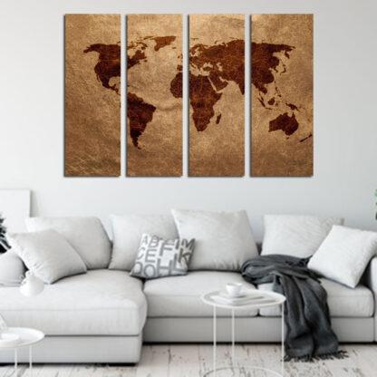 Τετραπτυχος πινακας σε καμβα παγκοσμιος χαρτης σε καφε αποχρωσεις