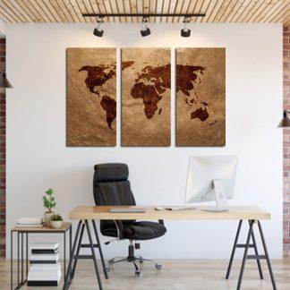 Τριπτυχος πινακας σε καμβα παγκόσμιος χάρτης σε καφέ αποχρώσεις