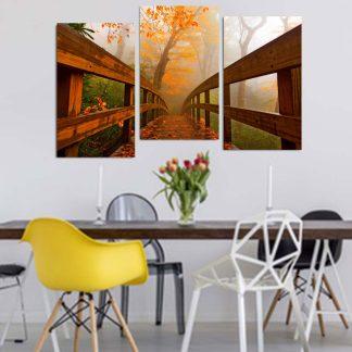 Τριπτυχος πινακας σε καμβα φθινοπωρινο γεφυρακι