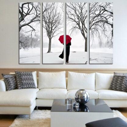 Τετραπτυχος πινακας σε καμβα χιονισμενο δασος