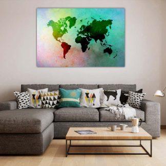 Πίνακας σε καμβά Colorfull World map παγκόσμιος χάρτης πολύχρωμος