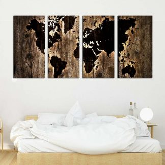 Τετράπτυχος πίνακας σε καμβά Dark wood World map