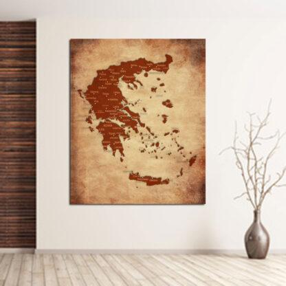 Χάρτης της Ελλάδας πίνακας σε καμβά