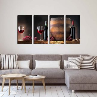 Τετράπτυχος πίνακας σε καμβά wine and barrel