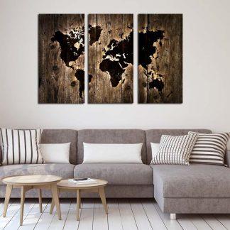 Τρίπτυχος πίνακας σε καμβά dark wooden world map lightning effect