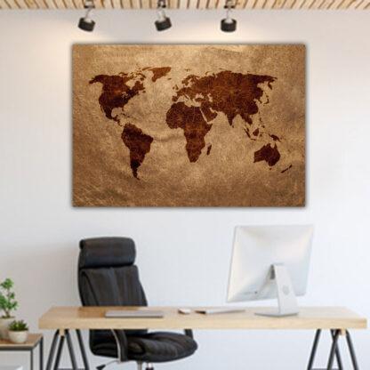 Πίνακας σε καμβά World map σε καφέ αποχρώσεις
