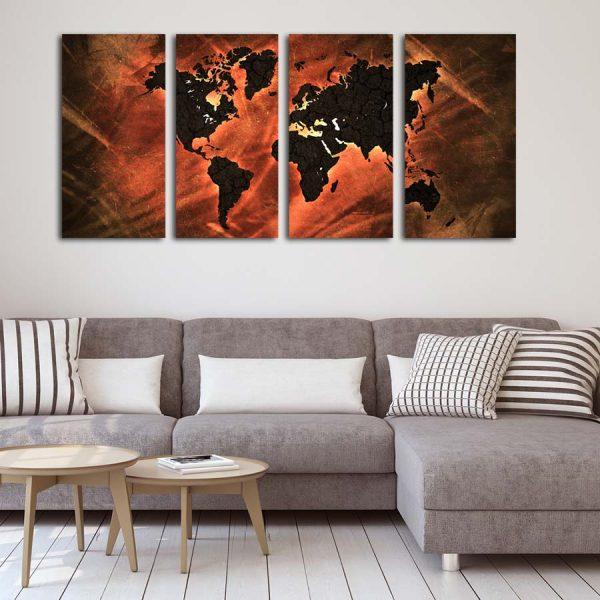 Τετράπτυχος πίνακας σε καμβά World map Lava edition