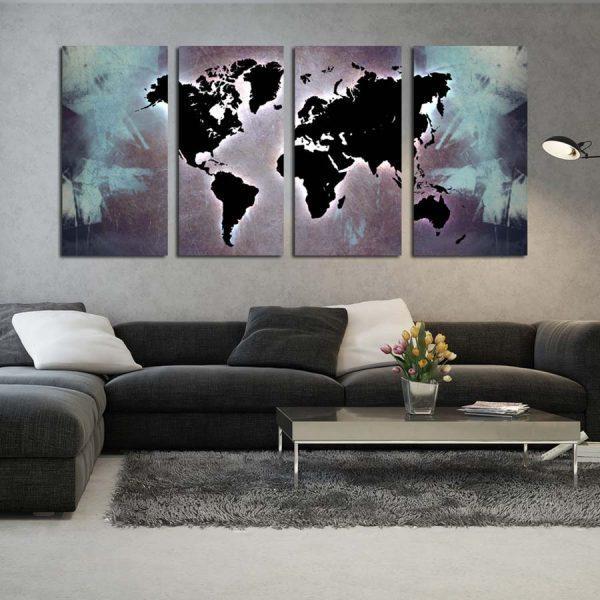 Τετράπτυχος πίνακας σε καμβά World map X-ray edition
