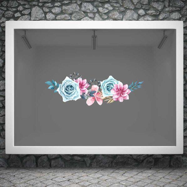Αυτοκόλλητο ανοιξιάτικης βιτρίνας ανοιξιάτικα λουλούδια