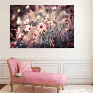 Πίνακας σε καμβά ροζ λουλούδια στον άνεμο