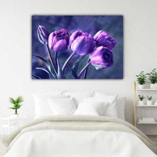Πίνακας σε καμβά μωβ λουλούδια