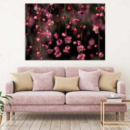 Πίνακας σε καμβά ροζ ανθάκια νο 2