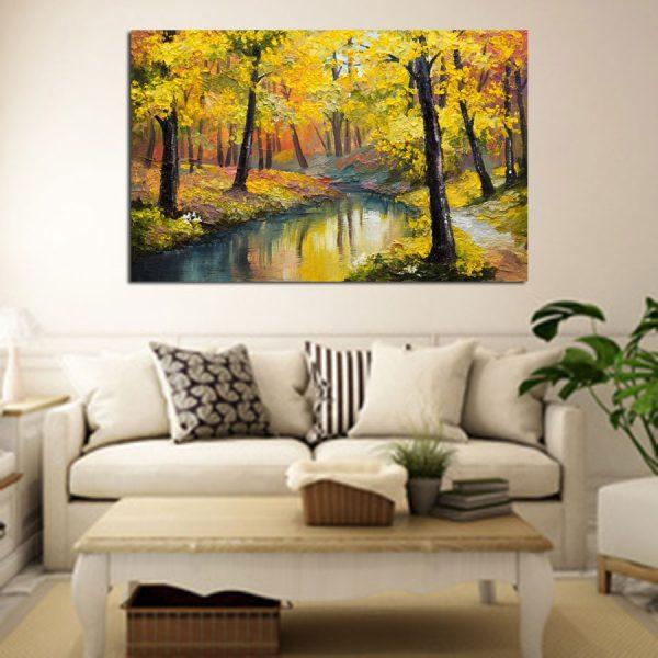 Πίνακας σε καμβά φθινοπωρινό ριάκι ns