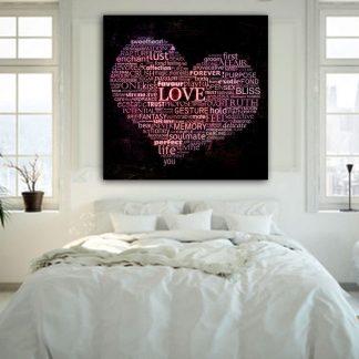 Τετράγωνος πίνακας σε καμβά Love