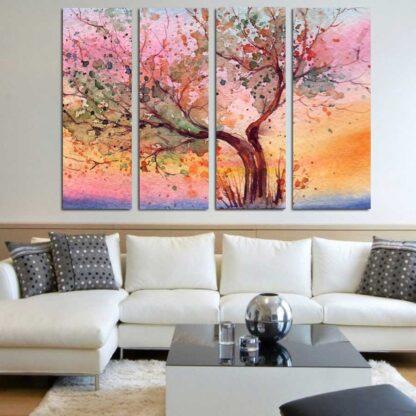 Τετραπτυχος πινακας σε καμβα watercolor tree