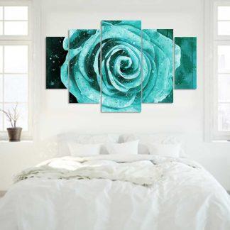 Πεντάπτυχος πίνακας σε καμβά τυρκουάζ τριαντάφυλλο