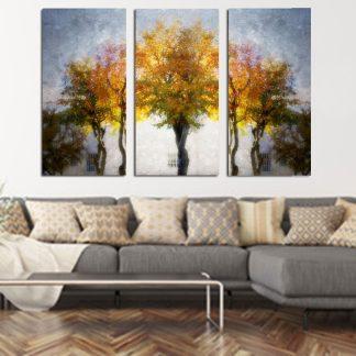 τριπτυχος-πίνακας-σε-καμβά-δέντρα-φθινοπώρου