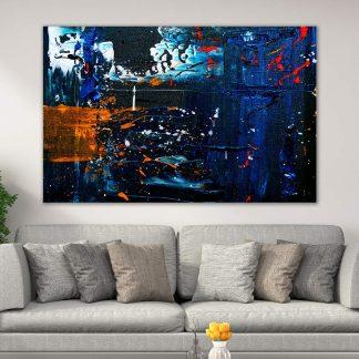 Πίνακας σε καμβά abstract blue orange