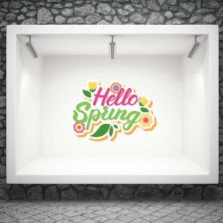 Αυτοκόλλητο ανοιξιάτικης βιτρίνας hello spring