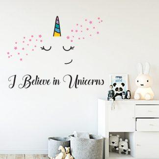 i believe in unicorns αυτοκολλητο τοιχου