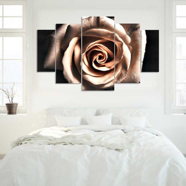 Πεντάπτυχος πίνακας σε καμβά vintage rose