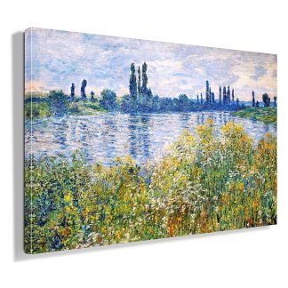 Πίνακας σε καμβά Claude Monet Flowers On The Banks of Seine Near Vetheuil 1880