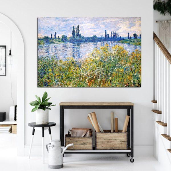 Πίνακας σε καμβά Claude Monet Flowers On The Banks of Seine Near Vetheuil 1880