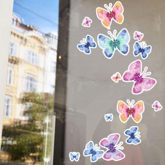 Αυτοκόλλητο βιτρίνας ανοιξιάτικο πεταλούδες