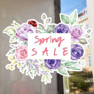 Αυτοκόλλητο βιτρίνας ανοιξιάτικο floral spring sales