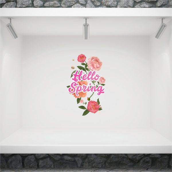 ανοιξιατικο αυτοκολλητο βιτρινας hello spring