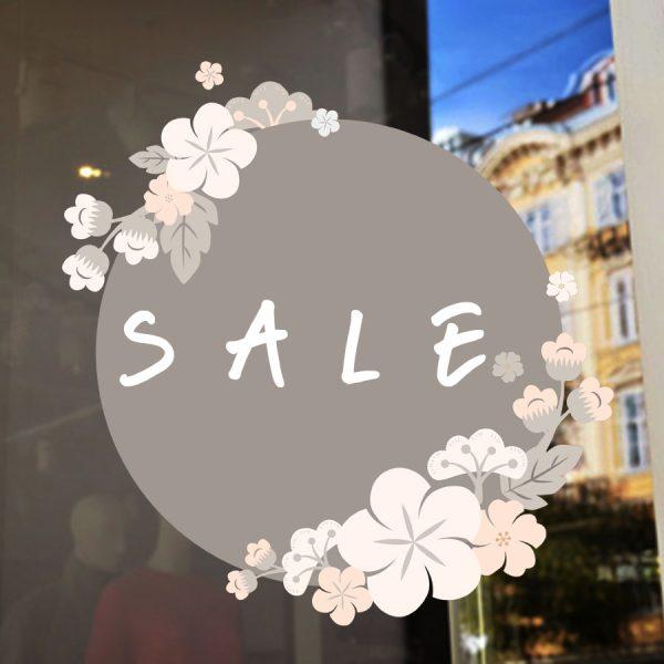 Αυτοκόλλητο βιτρίνας ανοιξιάτικο εκπτώσεων Spring sales σε κύκλο