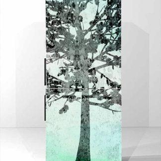 Αυτοκολλητο ψυγείου δέντρο σε φόντο μέντας