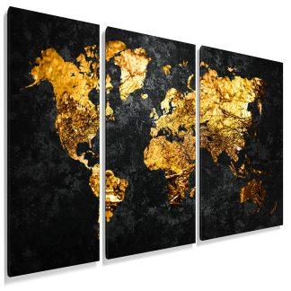 τριπτυχος-πινακας-σε-καμβα-παγκοσμιος-χάρτης-pure-gold