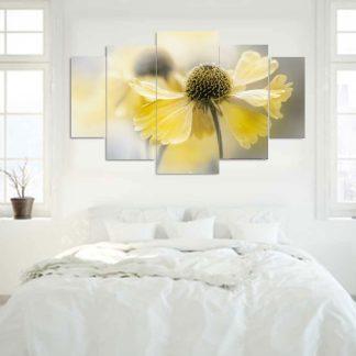 Πεντάπτυχος πίνακας σε καμβά κίτρινο λουλούδι