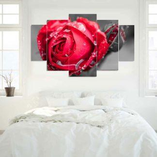 Πεντάπτυχος πίνακας σε καμβά κόκκινο τριαντάφυλλο