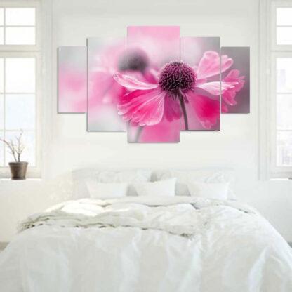 Πεντάπτυχος πίνακας σε καμβά ροζ λουλούδι