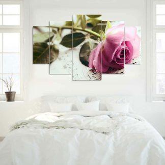 Πεντάπτυχος πίνακας σε καμβά τριαντάφυλλο και πεντάγραμμο