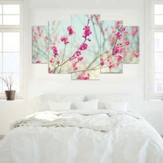 Πεντάπτυχος πίνακας σε καμβά mint background and blossom